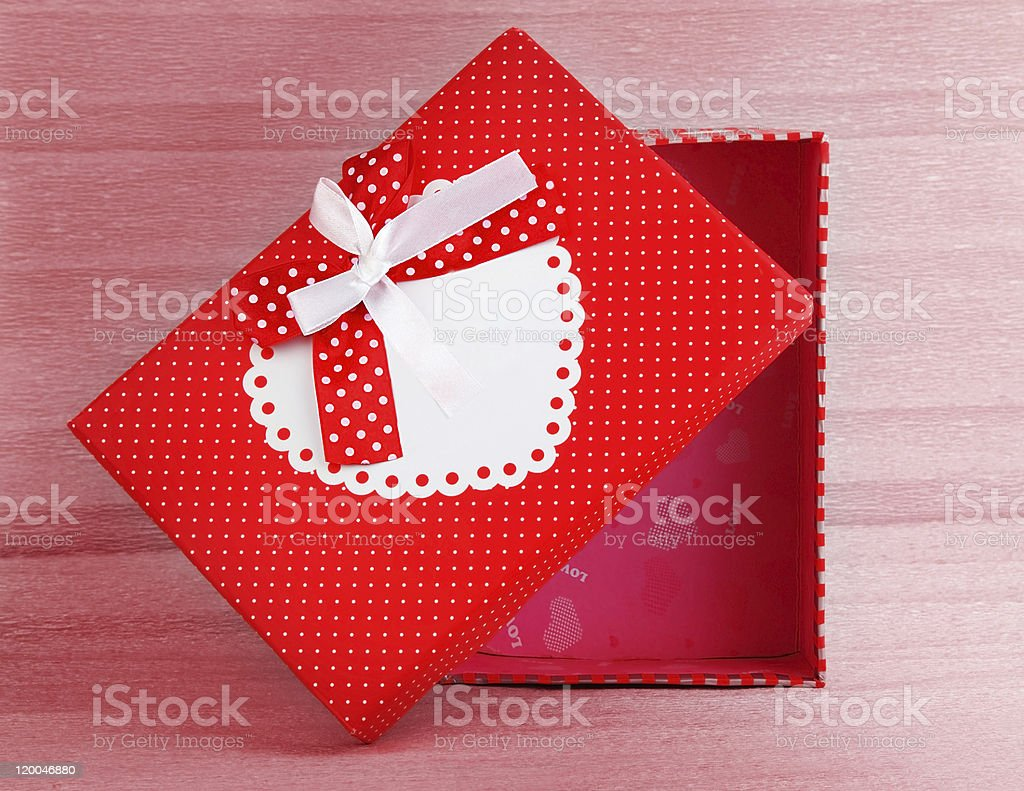 Red romantic gift box royalty-free stock photo