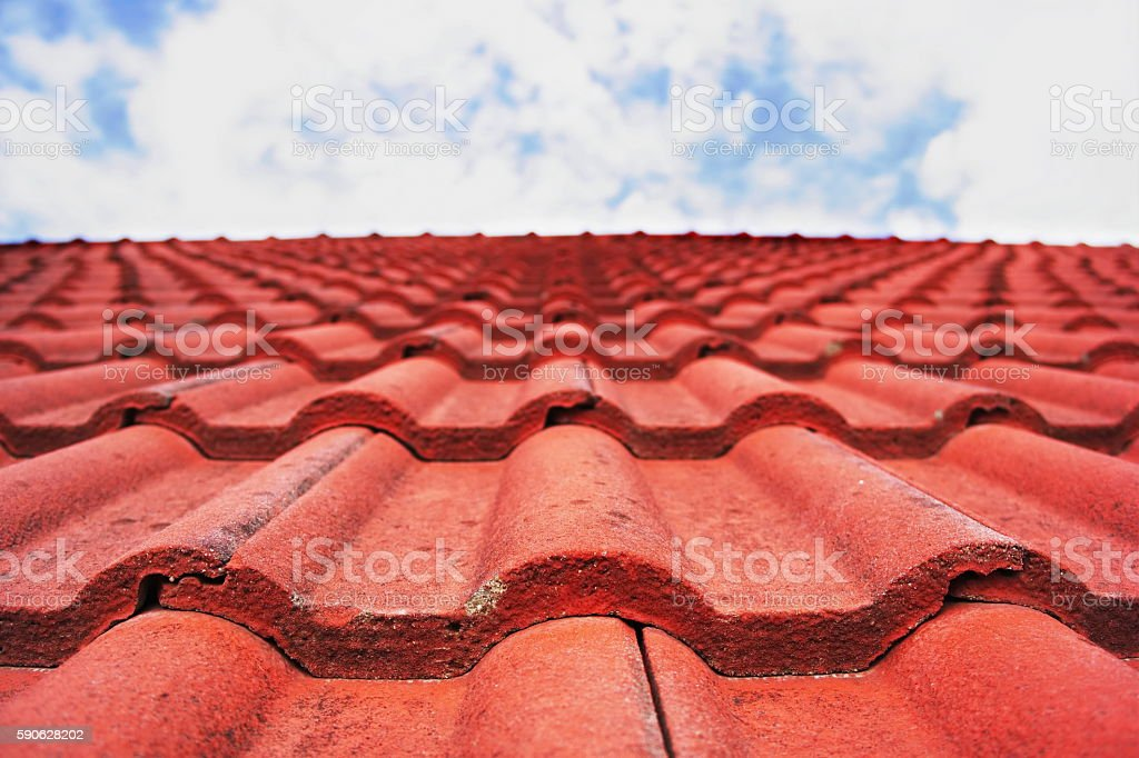Red Roof and Sky.(Focus on Roof) stock photo