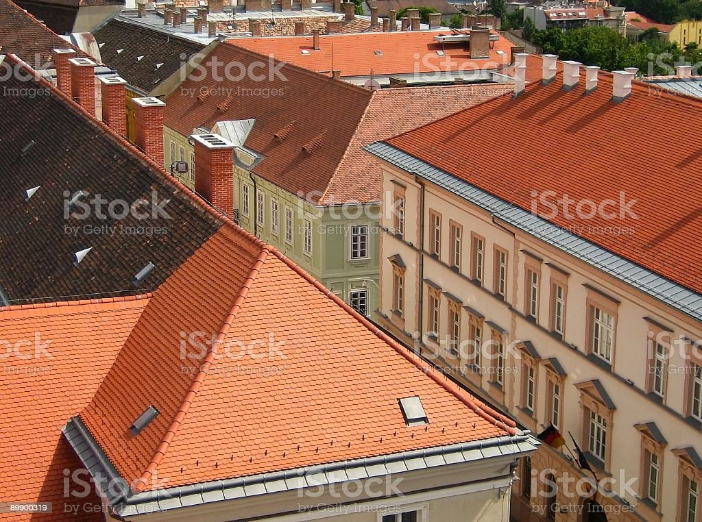 Red roof bird view royalty-free stock photo