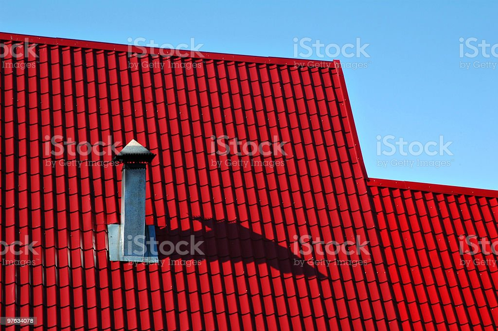 Red roof from a metal tile royalty-free stock photo