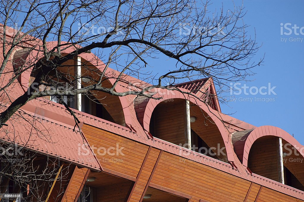 Red roof of a building royalty-free stock photo