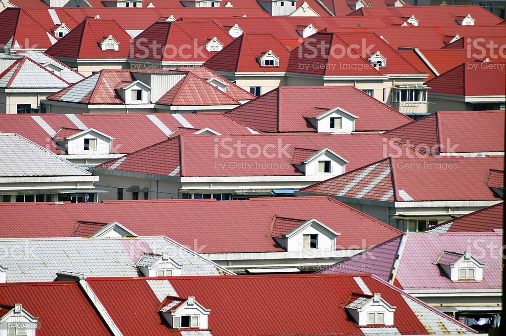 Red roof stock photo