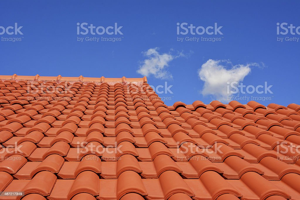 red roof texture tile stock photo