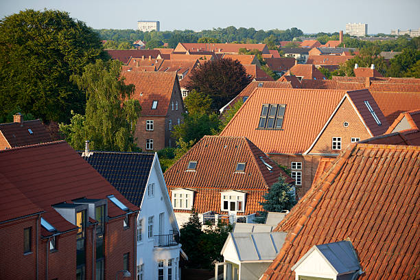 Red roof tops in Danish city stock photo