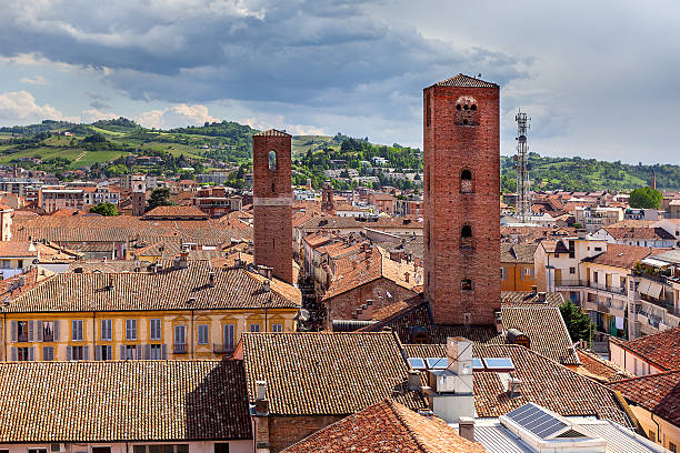 Red roofs and medieval towers of Alba, Italy. stock photo