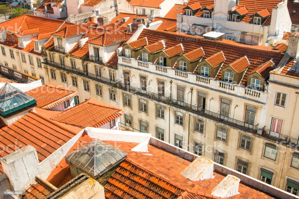 Red roofs in Lisbon, Portugal stock photo