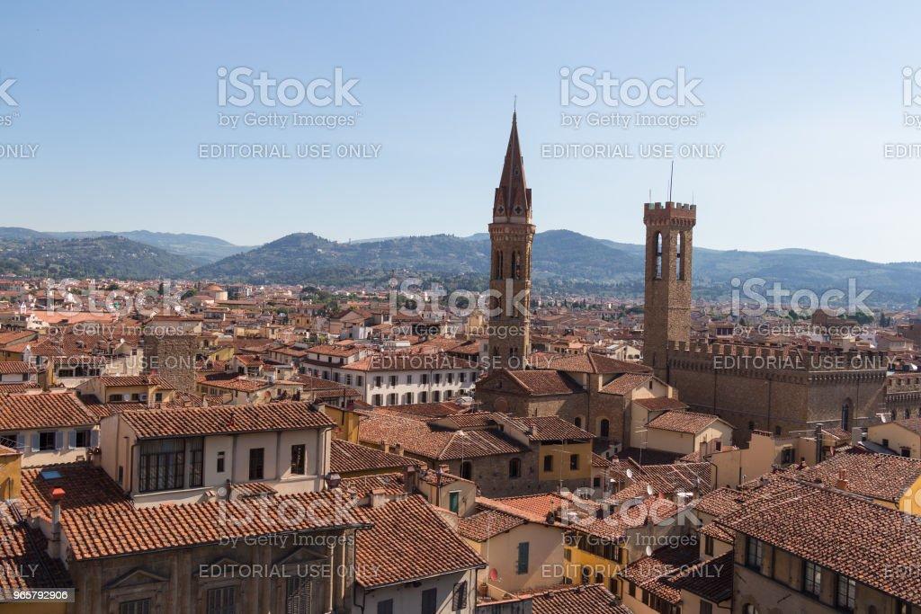 Rode daken van Florence Palazzo Vecchio in een zonnige dag, Toscane, Italië. - Royalty-free Afbeelding Stockfoto