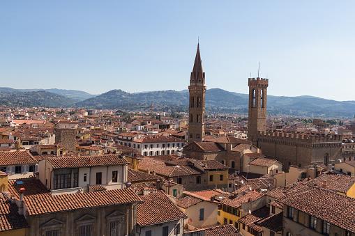 Rode Daken Van Florence Palazzo Vecchio In Een Zonnige Dag Toscane Italië Stockfoto en meer beelden van Afbeelding