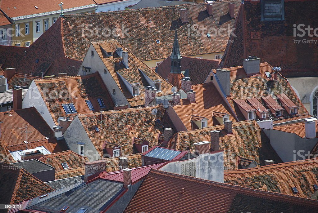 Red Roofs of Graz stock photo