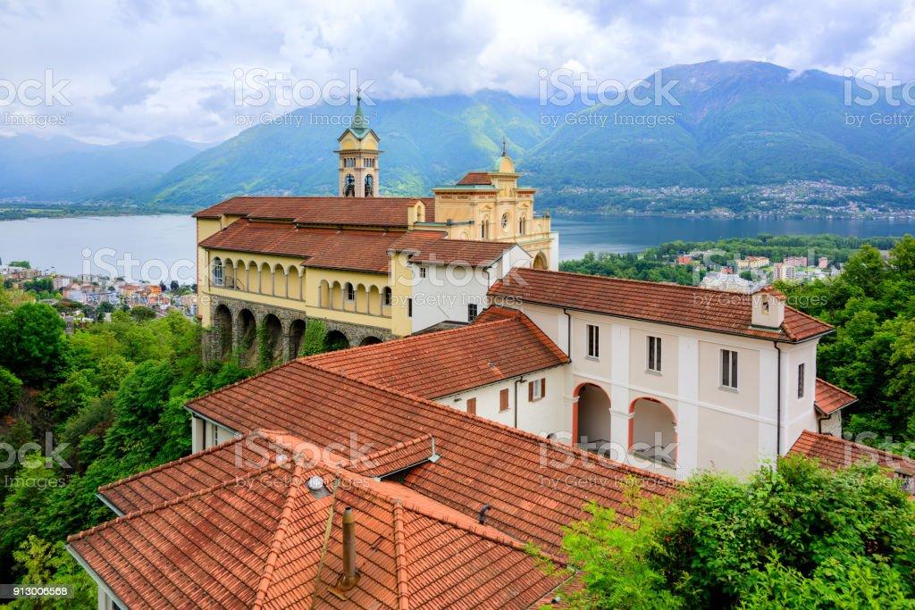 Red roofs of Madonna del Sasso Church, Locarno, Switzerland stock photo