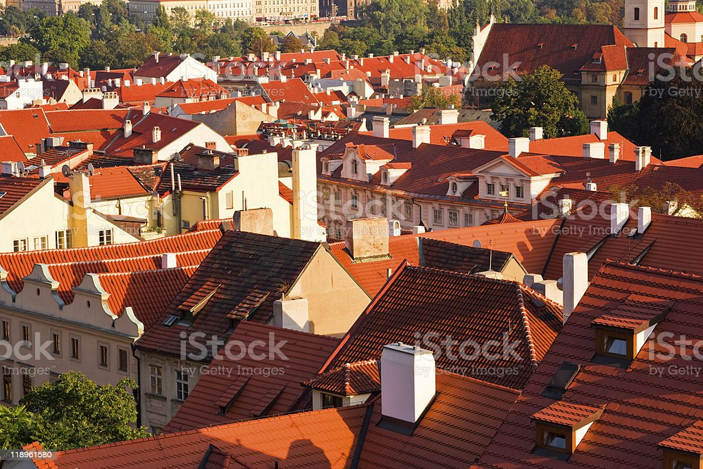 Red roofs of Prague royalty-free stock photo