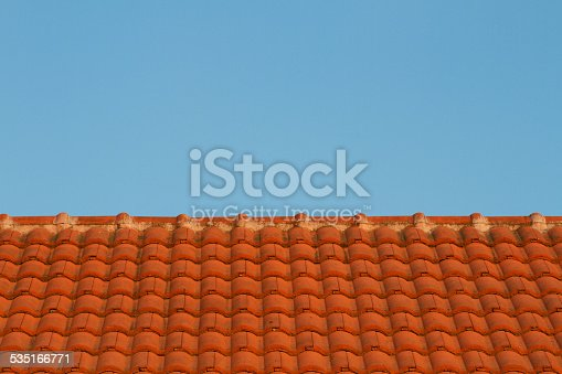 Red roof-tile in evening
