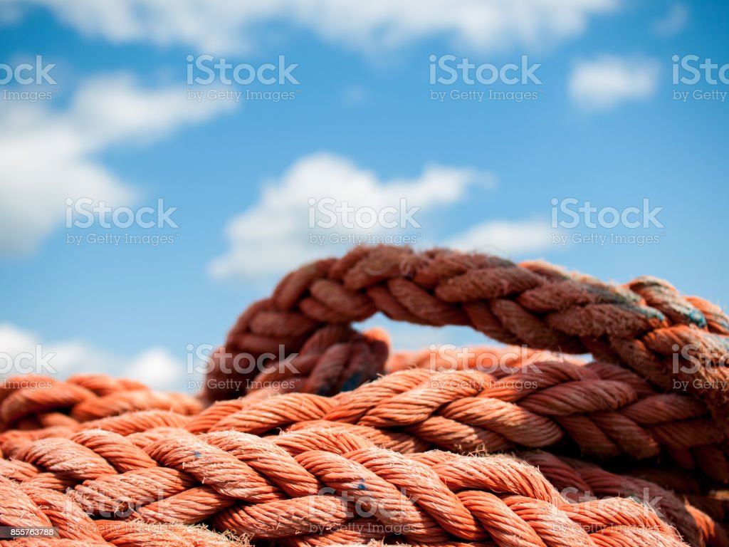 Red rope close up stock photo