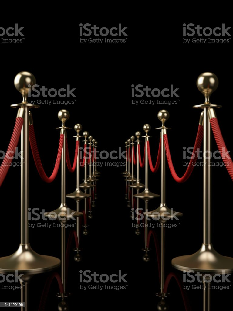 Red Rope Fence: Red Carpet Concept stock photo