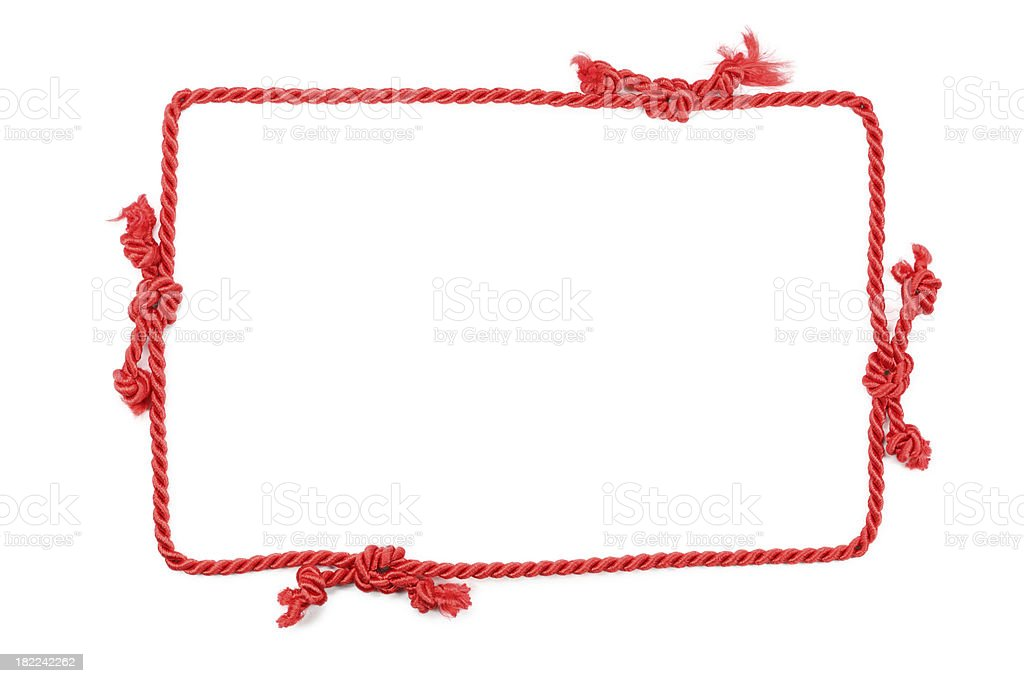 red rope frame isolated on white royalty-free stock photo