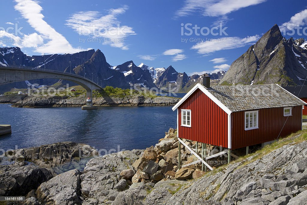 Red rorbu fishing hut royalty-free stock photo