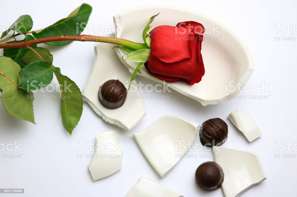 Red Rose and Chocolates stock photo