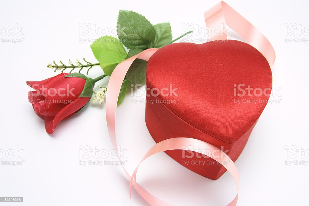 Red Rose and Heart-shaped Gift Box royalty-free stock photo