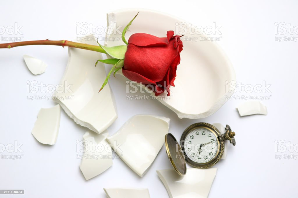 Red Rose and Pocket Watch stock photo