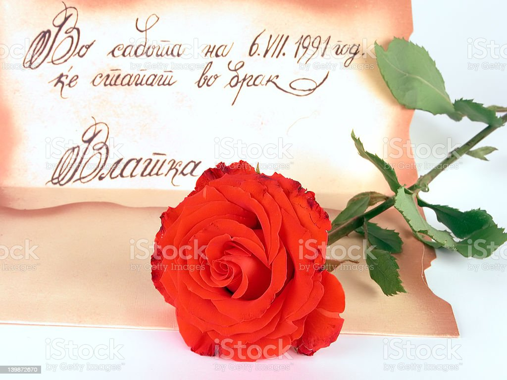 Red rose and proposal royalty-free stock photo