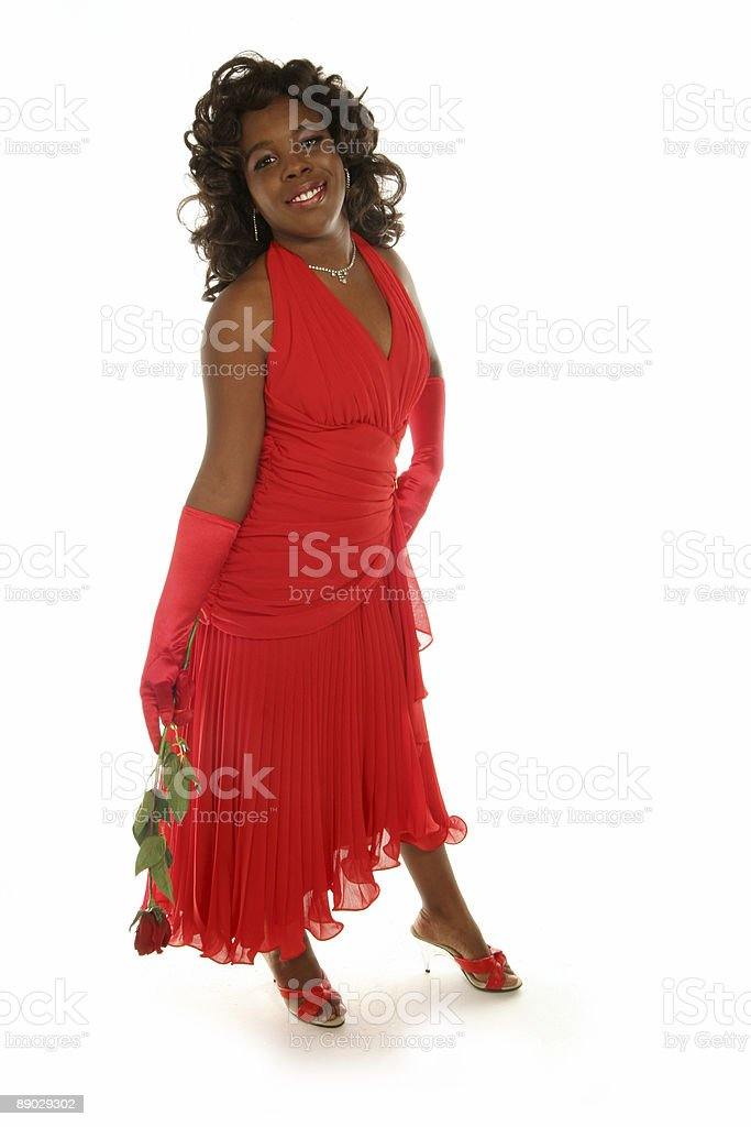 red rose and red dress royalty-free stock photo
