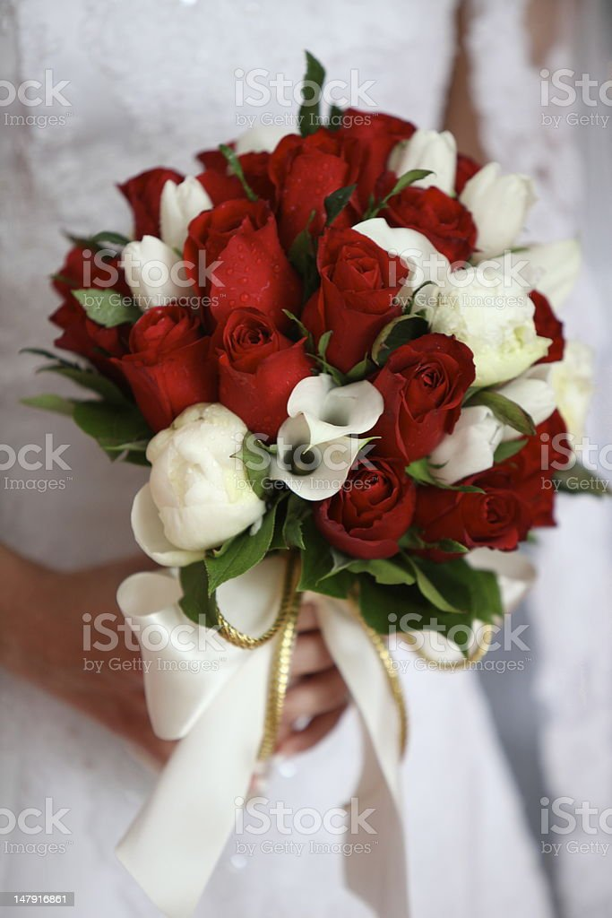 Red Rose And White Lily Wedding Bouquet Stock Photo & More Pictures ...