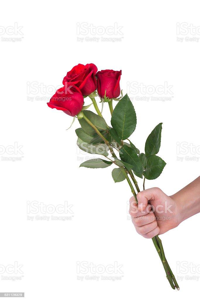 Красных Роз Букет Цветов В Руках Мужчины Изолированные Обтравка — стоковые  фотографии и другие картинки 2015 - iStock