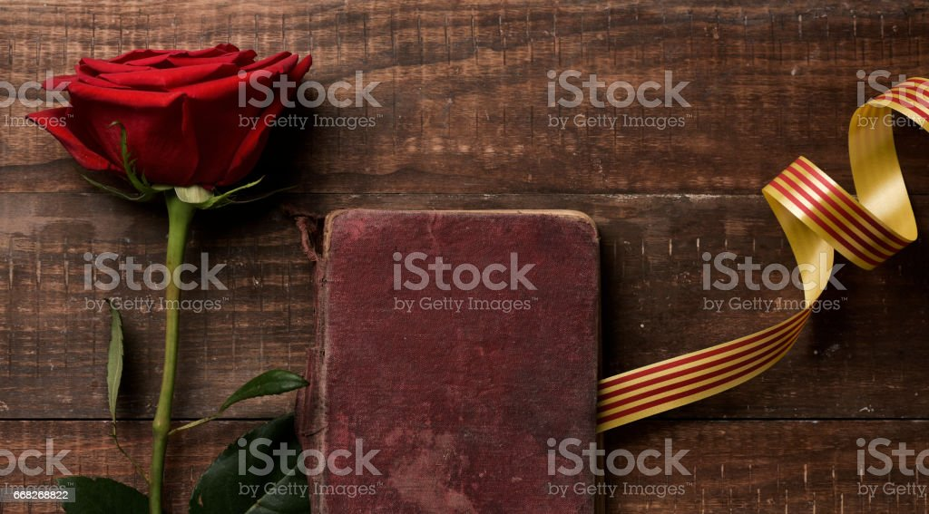 red rose, catalan flag and old book stock photo