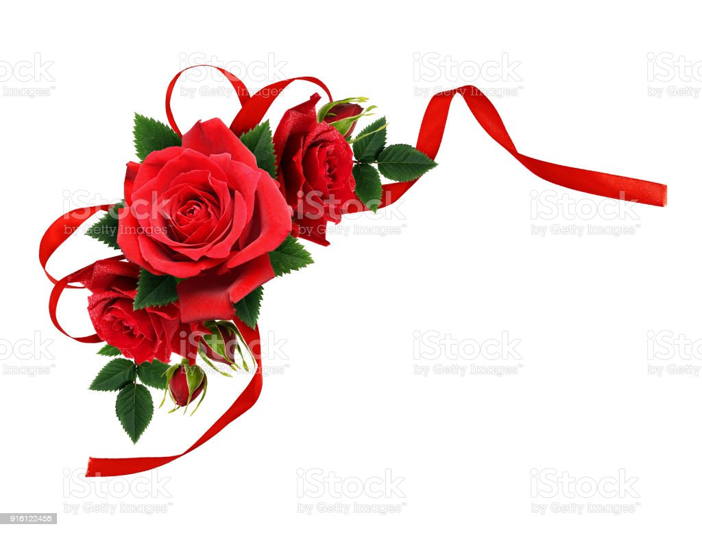 Red Rose Flowers And Silk Ribbon Bow In Corner Arrangement Stock