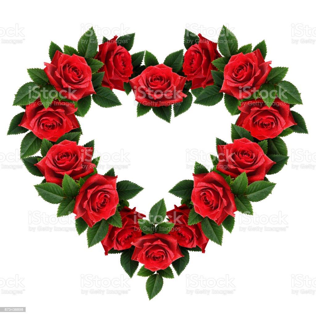 Fotografía De Flores Rosas Rojas Del Corazón Arreglo De Forma Y Más