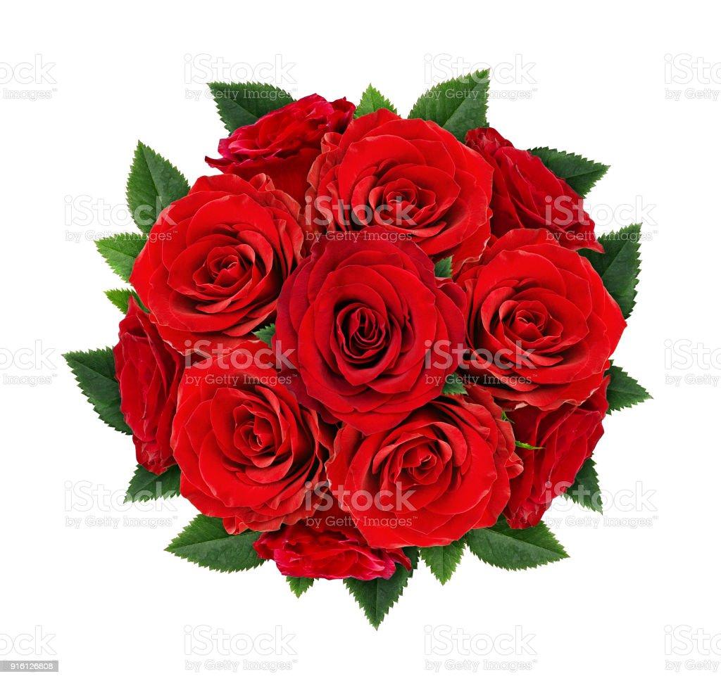 Fotografía De Flores Rosas Rojas En Ramo Redondo Y Más Banco De
