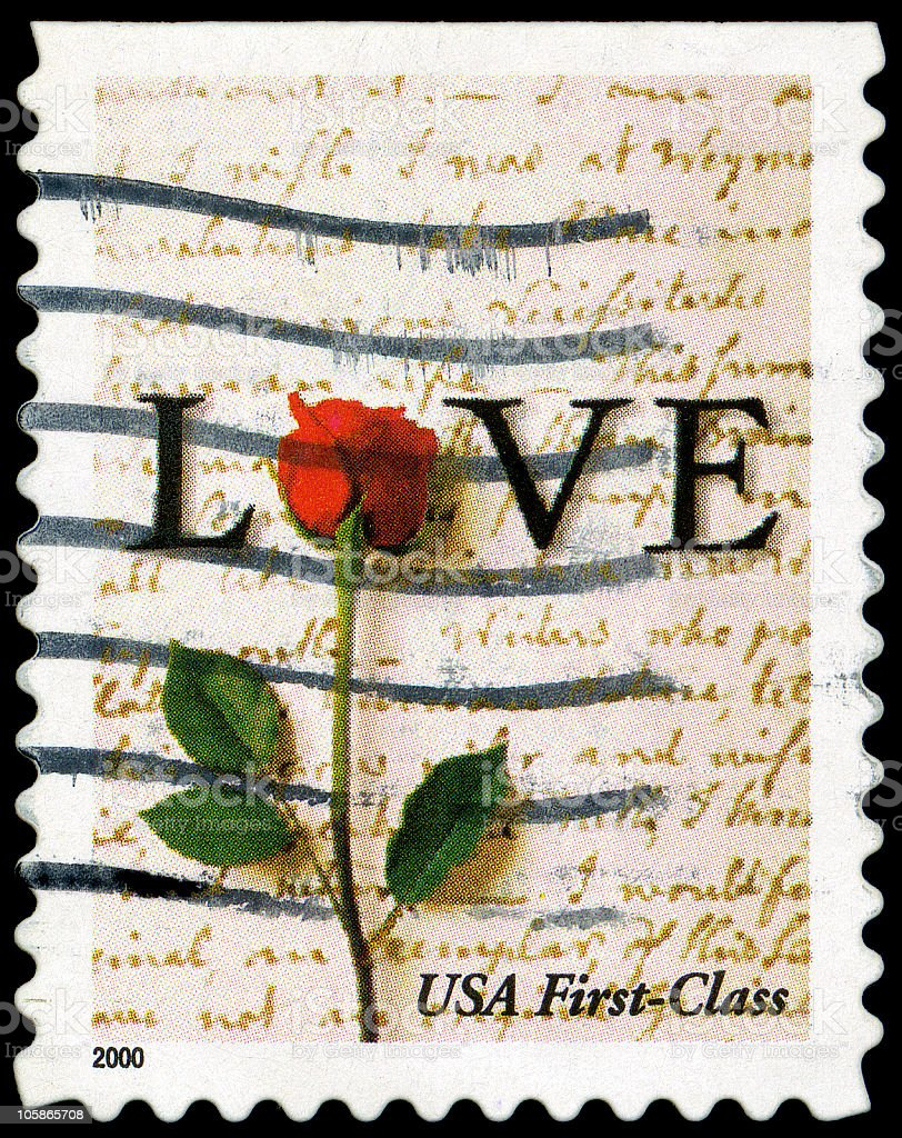 Red Rose love Stamp royalty-free stock photo