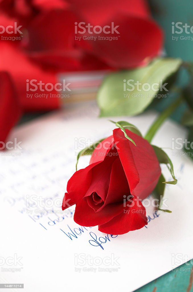 red rose on love letter royalty free stock photo