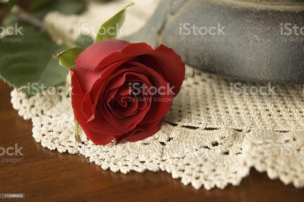 Red Rose on the Coffee Table royalty-free stock photo