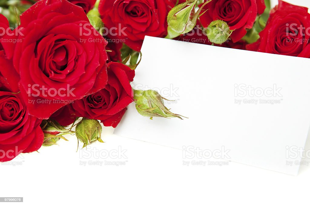 Red roses and blank invitation card royalty free stockfoto