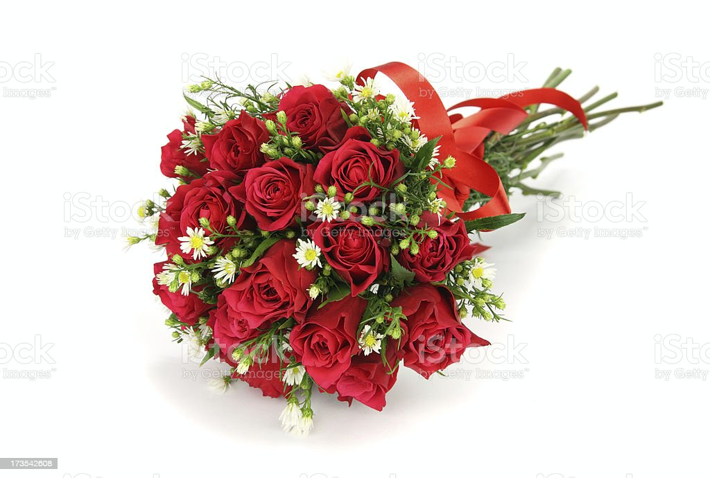 Red roses and  flower wedding bouquet isolated on white. royalty-free stock photo