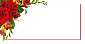 istock Red roses and freesia flowers in a floral corner arrangement with a frame 1172882136