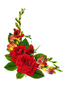 istock Red roses and freeyellow, sia flowers in a floral corner arrangement 1172882137