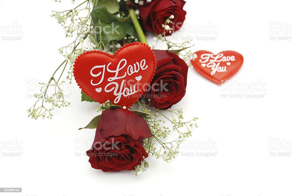 Red roses and love hearts royalty-free stock photo
