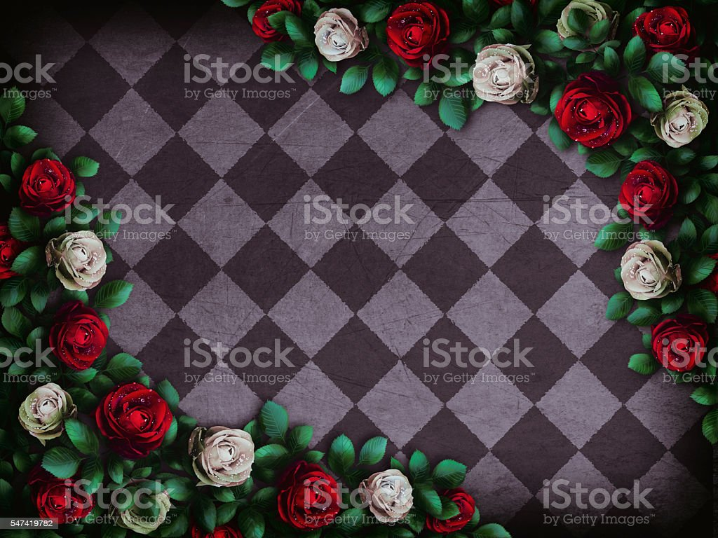 Red  roses and white roses on  chess background - foto de stock