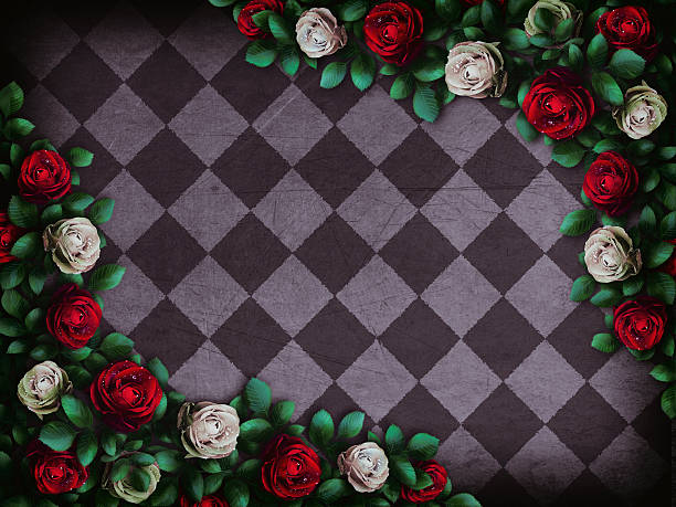 red  roses and white roses on  chess background - alice im wunderland stock-fotos und bilder