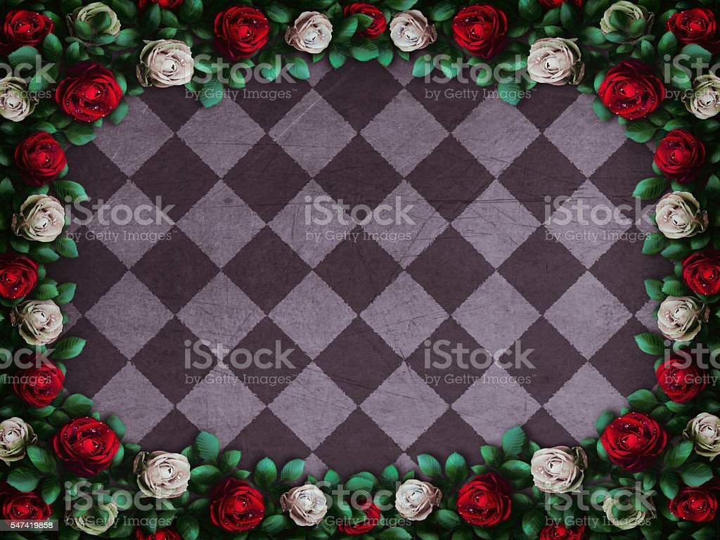 Red  roses and white roses on  chess background圖像檔