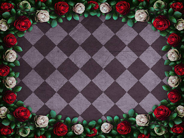 Red  roses and white roses on  chess background - foto de acervo