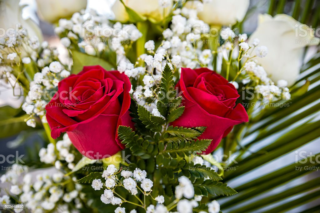 Red roses bouquet stock photo