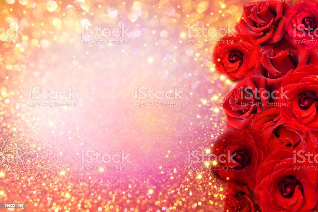 Red roses flower border on soft gold glitter background for red roses flower border on soft gold glitter background for valentine or invitation wedding card royalty stopboris Gallery