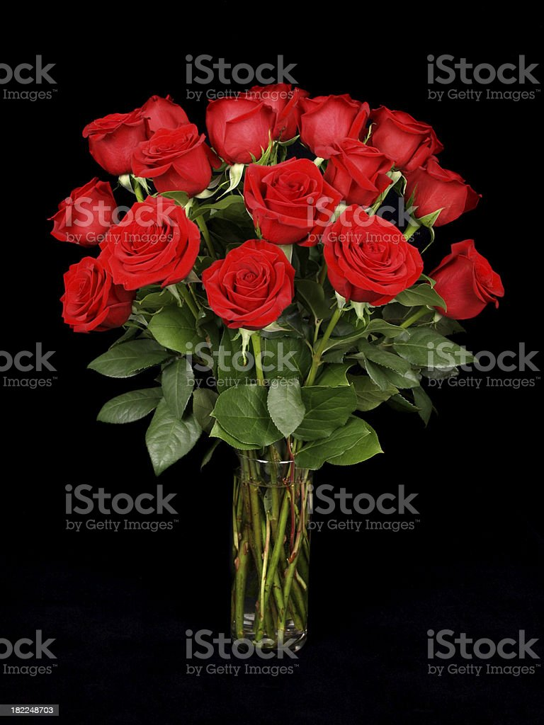 Red Roses in a Vase on Black stock photo