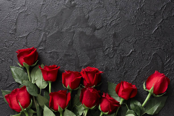 Red roses on a black, textured, stone background. Place for text, top view stock photo