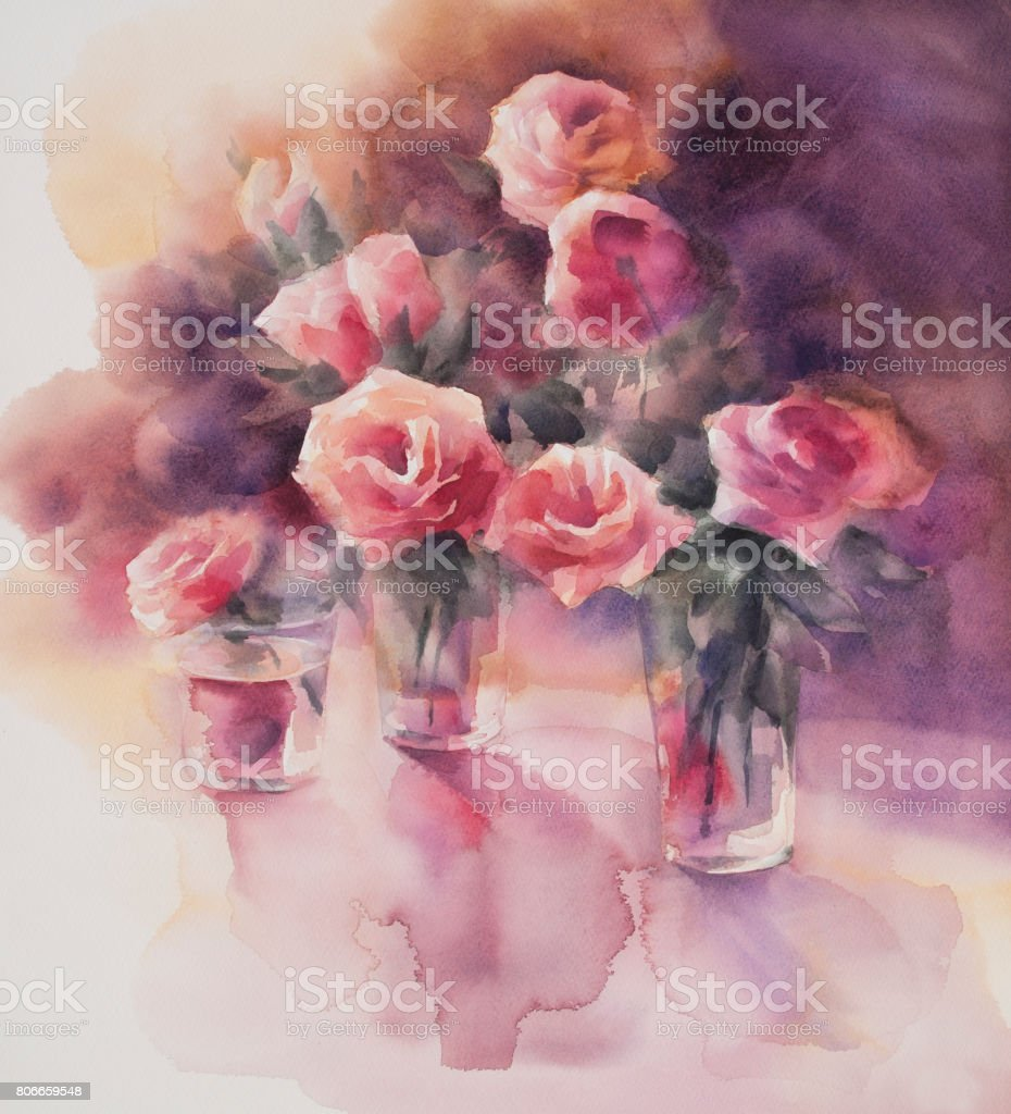 red roses watercolor stock photo