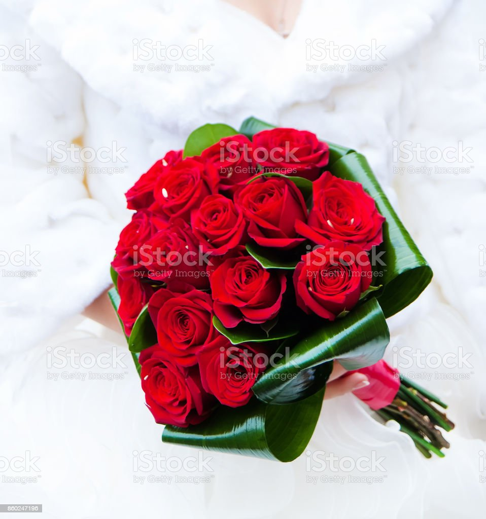 Red roses wedding bouquet stock photo