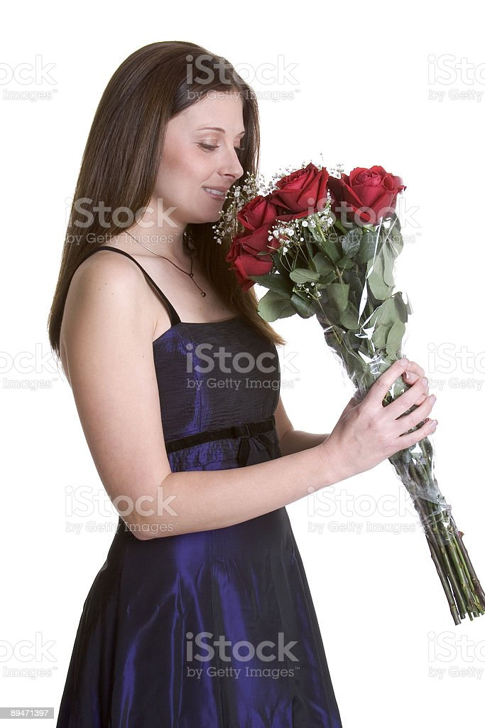 Red Roses Woman royalty-free stock photo